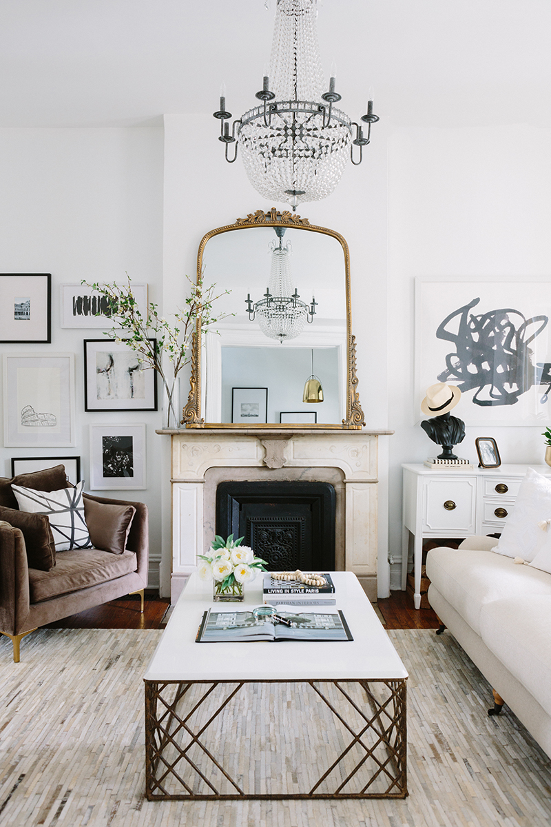 French-Inspired Living Room Vintage Fireplace