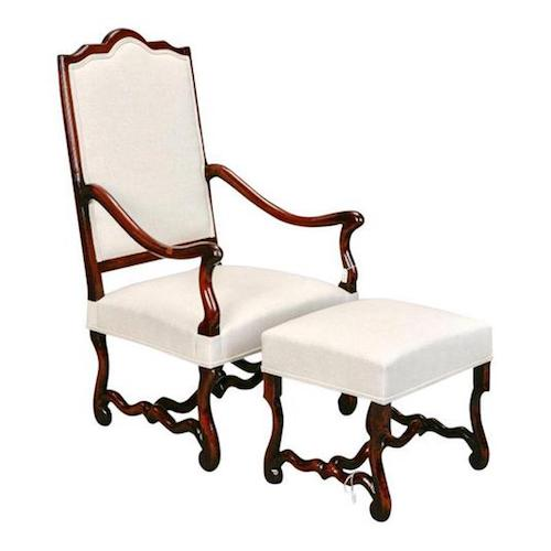 French Louis XIV Style Os De Mouton Arm Chair With Matching Footstool