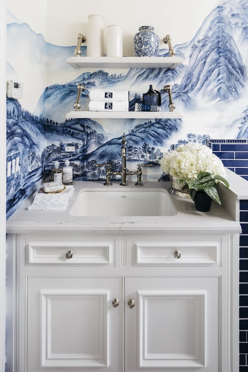 Laundry Room sink with open shelving and blue de Gournay chinoiserie wallpaper