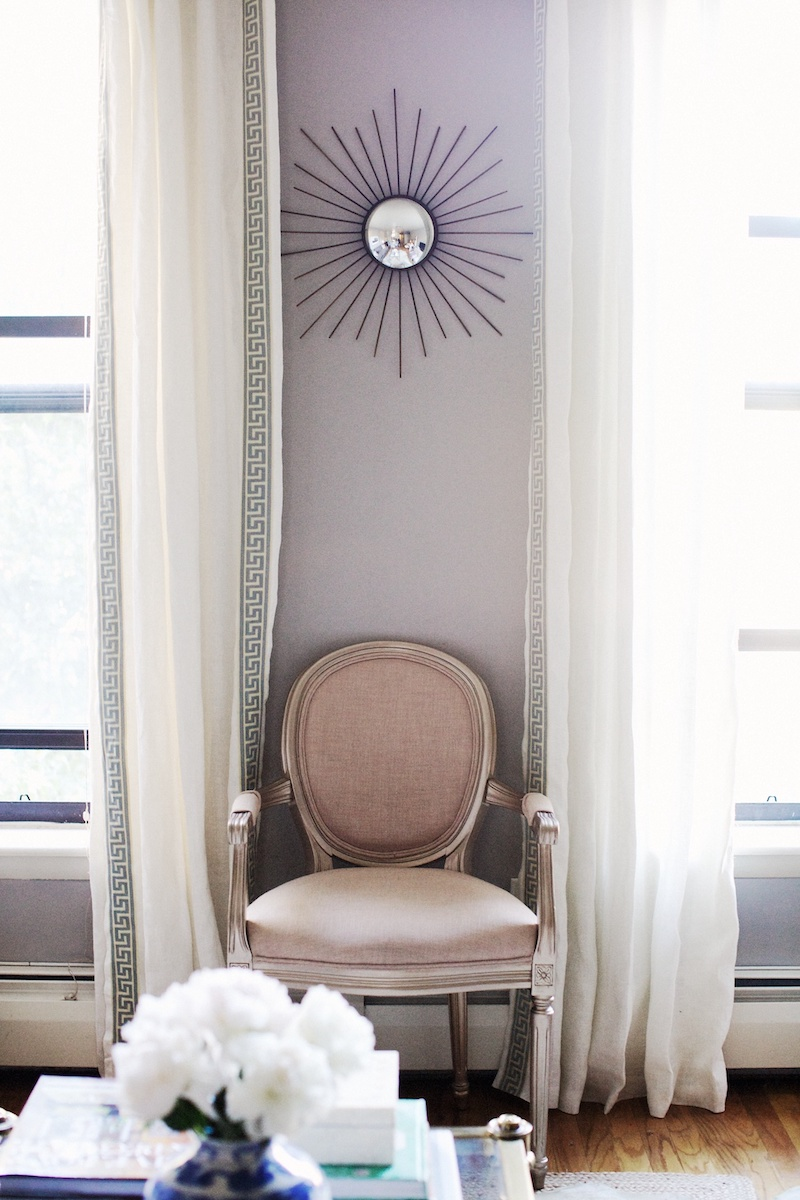 Louis XVI Chair with Purple walls via Nicole Gibbons So Haute