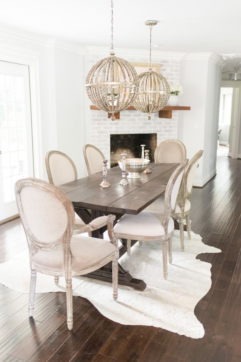 Neutral Distressed Wood Louis Chairs Dining Room via Olive and Tate