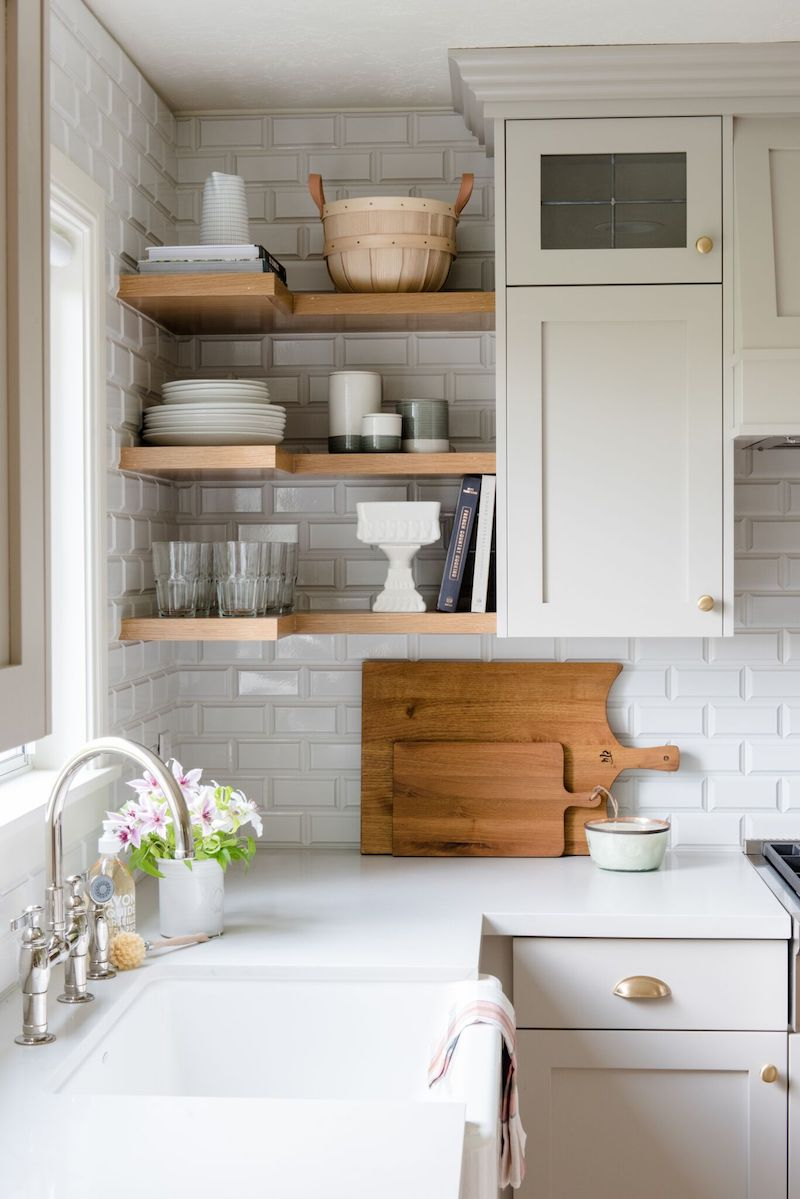 Neutral Kitchen With Natural Wood Open Shelving Via Studiomcgee