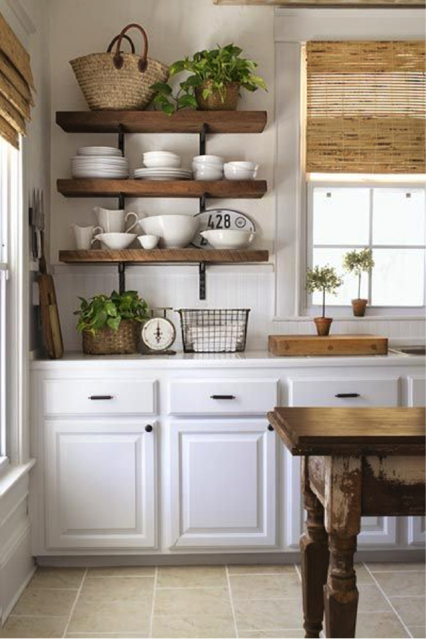 Open Kitchen Shelves Farmhouse Style via Vintage Home Love
