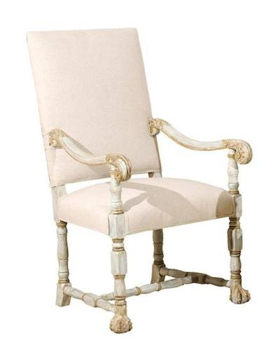 Pink Cushion French Louis XIV Style Armchairs With Light Grey Paint