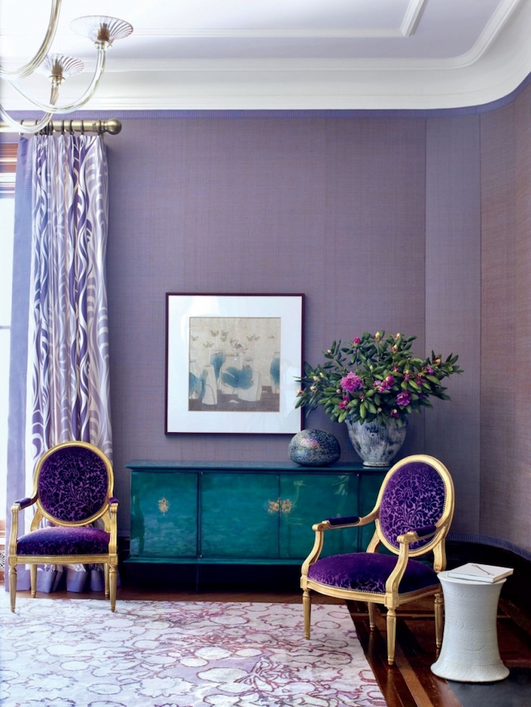 Purple Living Room with Louis XVI Chairs via AD