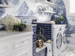 A Chinoiserie-Chic Blue Laundry Room in San Francisco