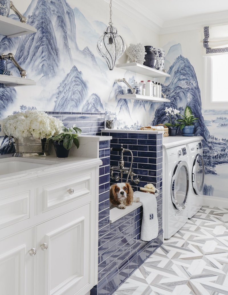 A chinoiserie chic blue laundry room in san francisco for Where can i purchase wallpaper