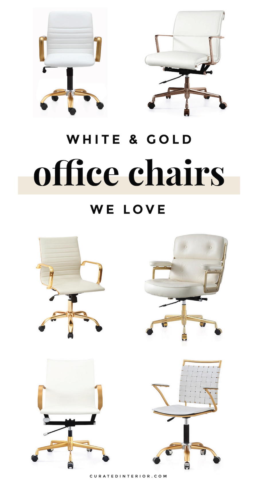 White & Gold Office Chairs for your Home Office Desk
