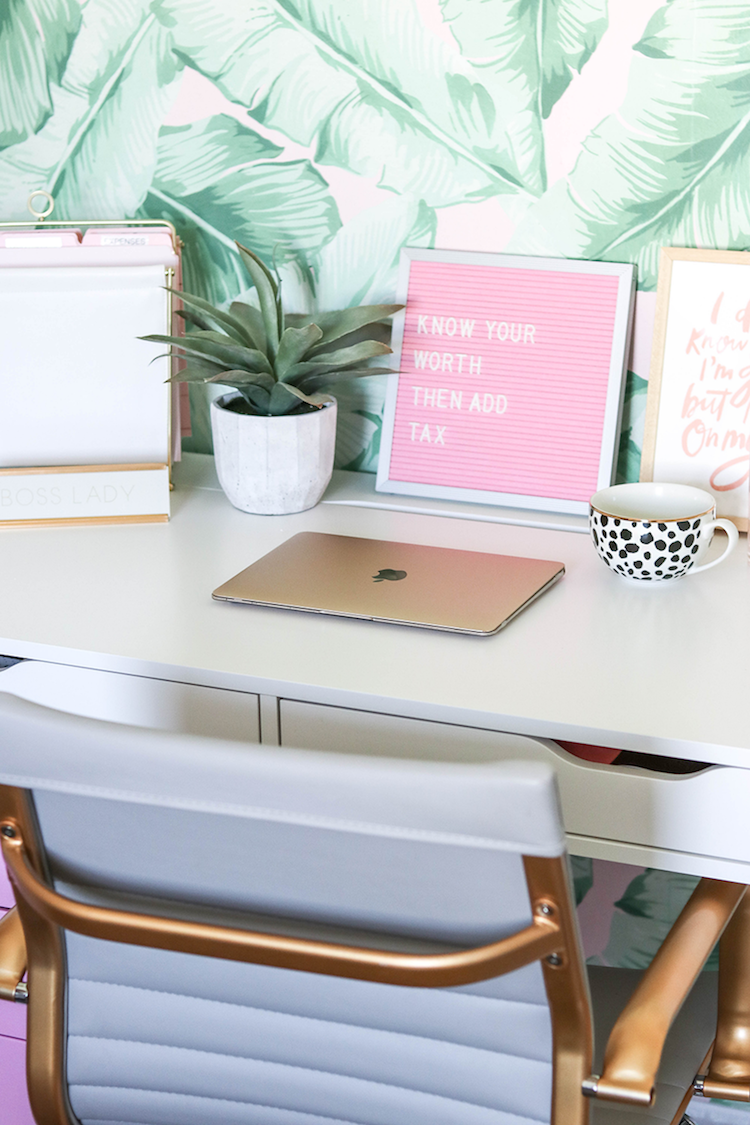 White and gold desk chair via Money Can Buy You Lipstick