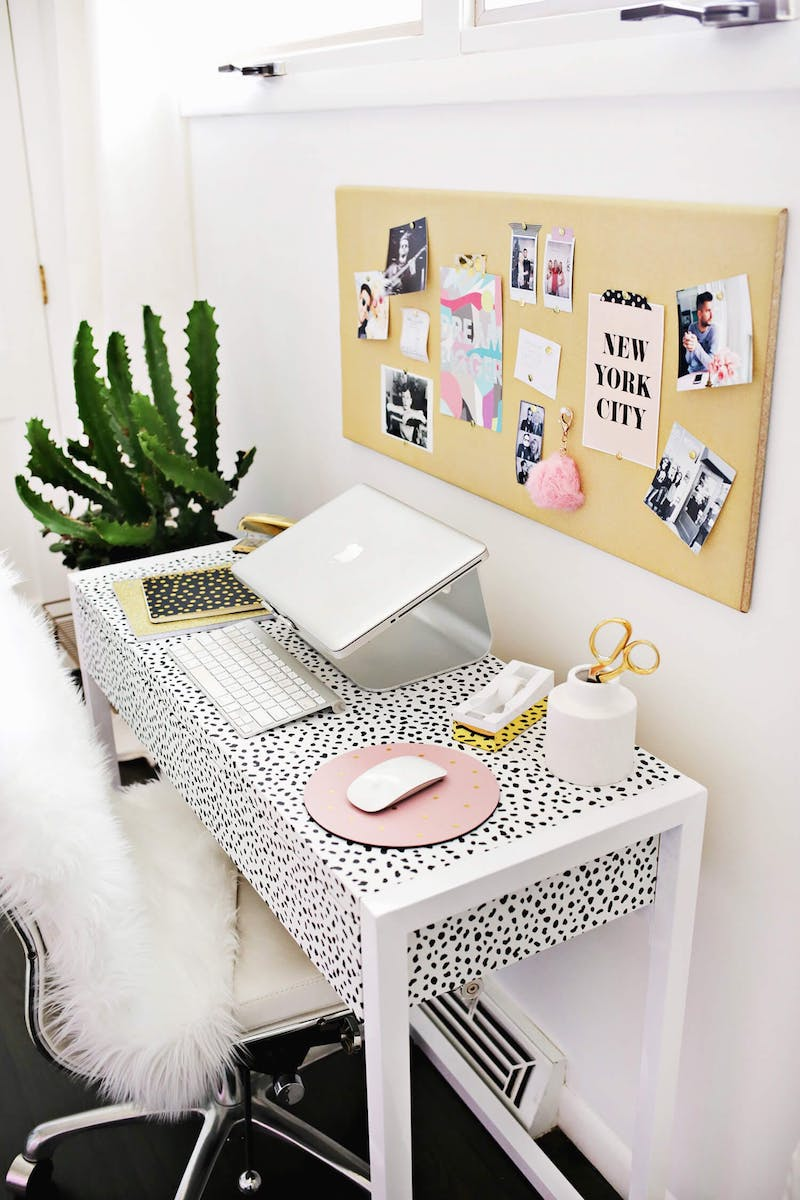 White and silver desk chair via A Beautiful mess