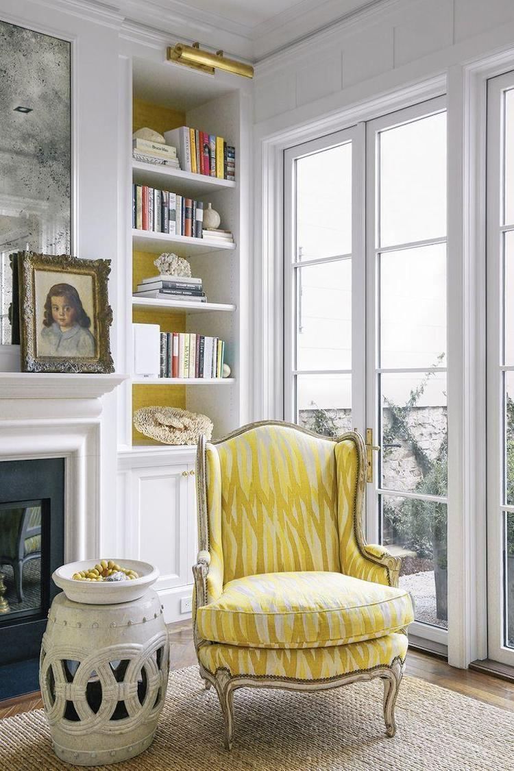 Yellow Bergere Wingback Chair Living Room via Susan Greenleaf