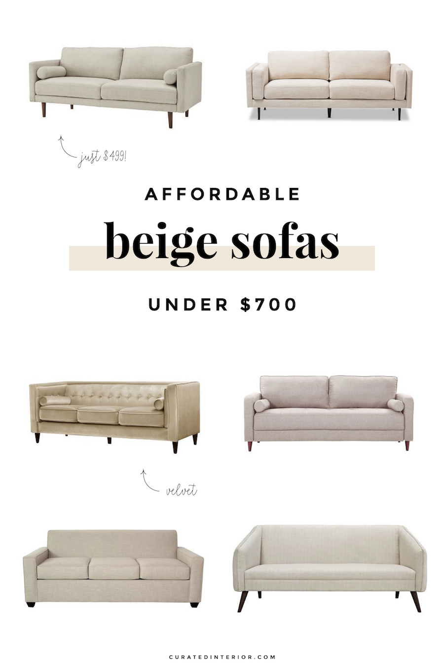 Affordable Beige Sofas Under $700 for the Living Room
