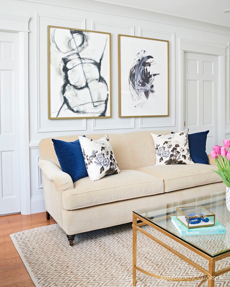 Preppy Beige Sofa In Traditional Living Room Via Rambling Renovators