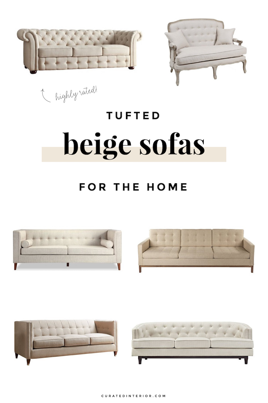 Tufted Beige Sofas