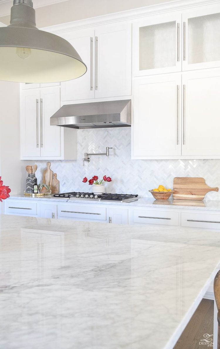 White herringbone marble backsplash kitchen tile via Z design at home