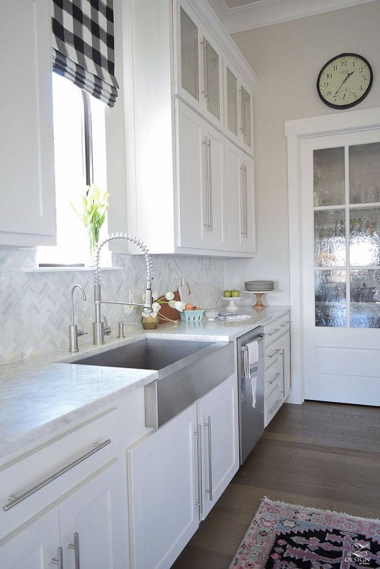 White herringbone marble backsplash tile kitchen via Z design at home
