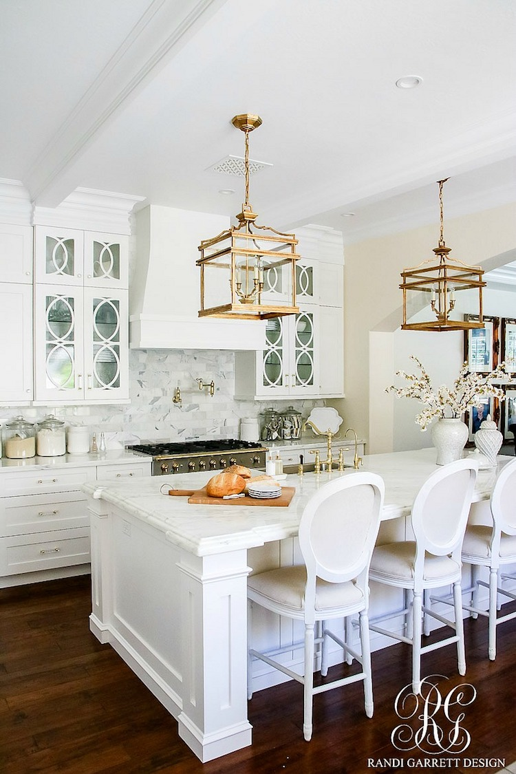White tile marble backsplash via Randi Garrett Design