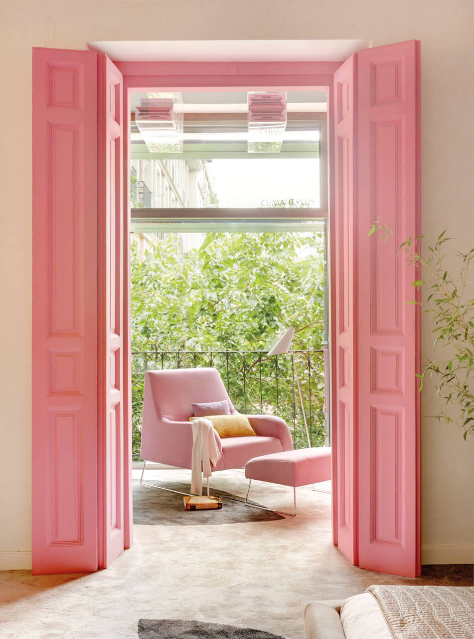 Pink doors leading to terrace