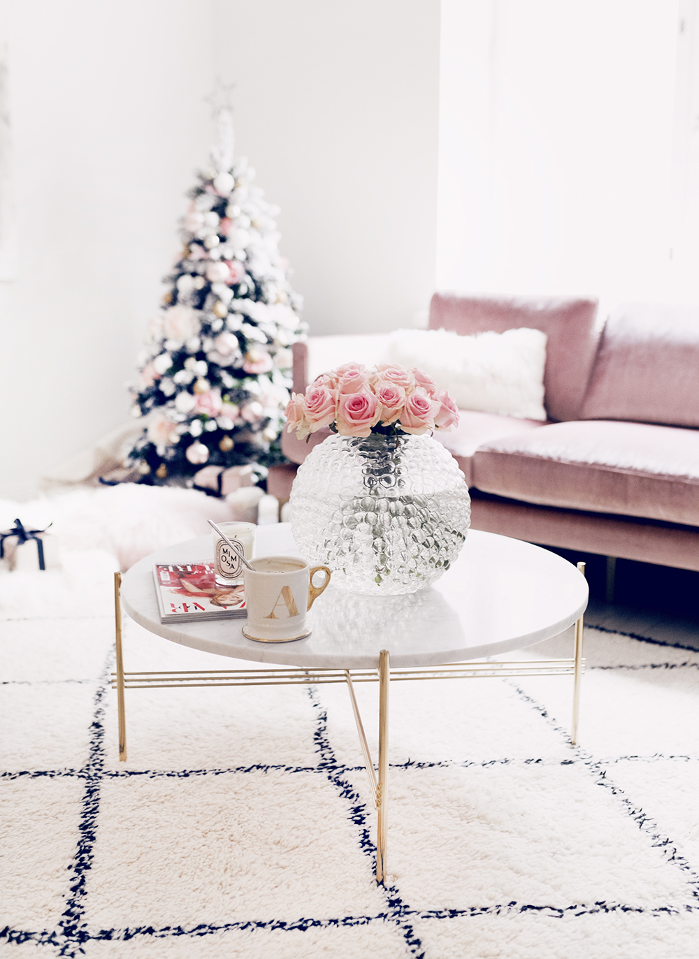 Alexa Dagmar Pink Christmas Couch Living Room