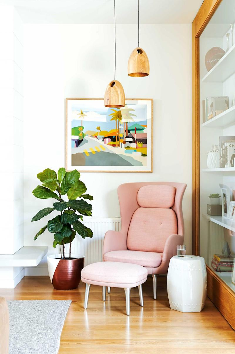 Pink accent chair with footstool