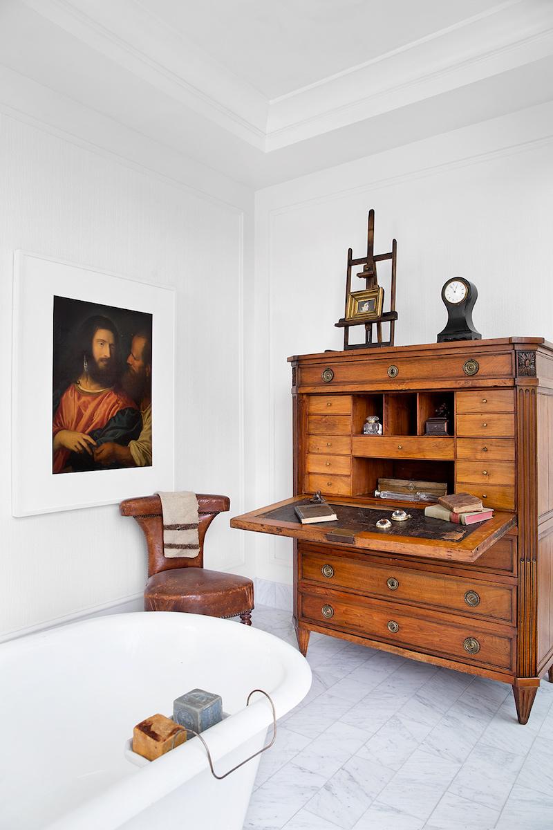 19th century writing desk inside bathroom of Darryl Carter