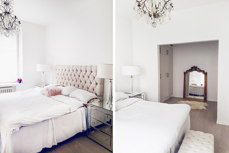Alexa Dagmar Bedroom with tufted headboard and gilded vintage mirror