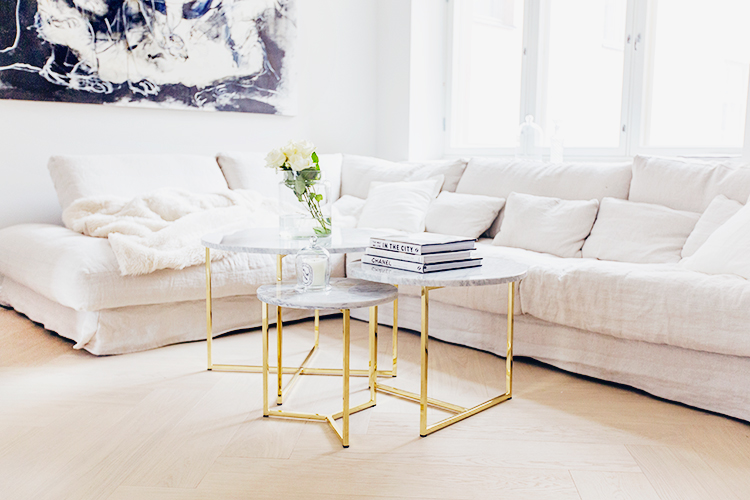 Alexa Dagmar neutral sofa with three tier marble coffee table