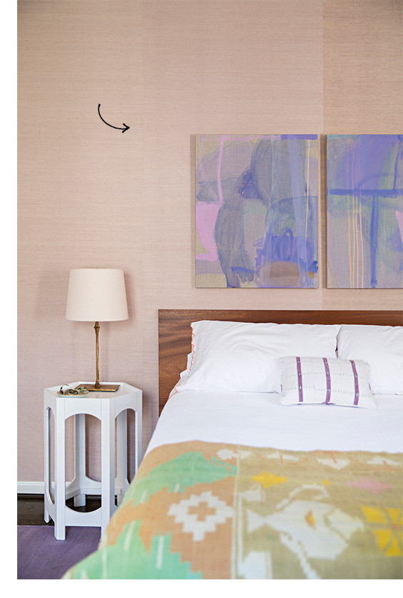 Lavender wall art in spare bedroom with neutral walls