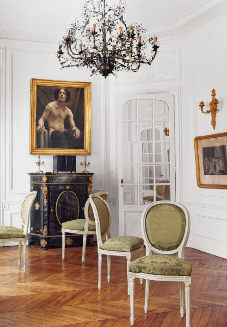 Louis XVI chairs in Erin Fetherston's Dreamy Parisian Apartment