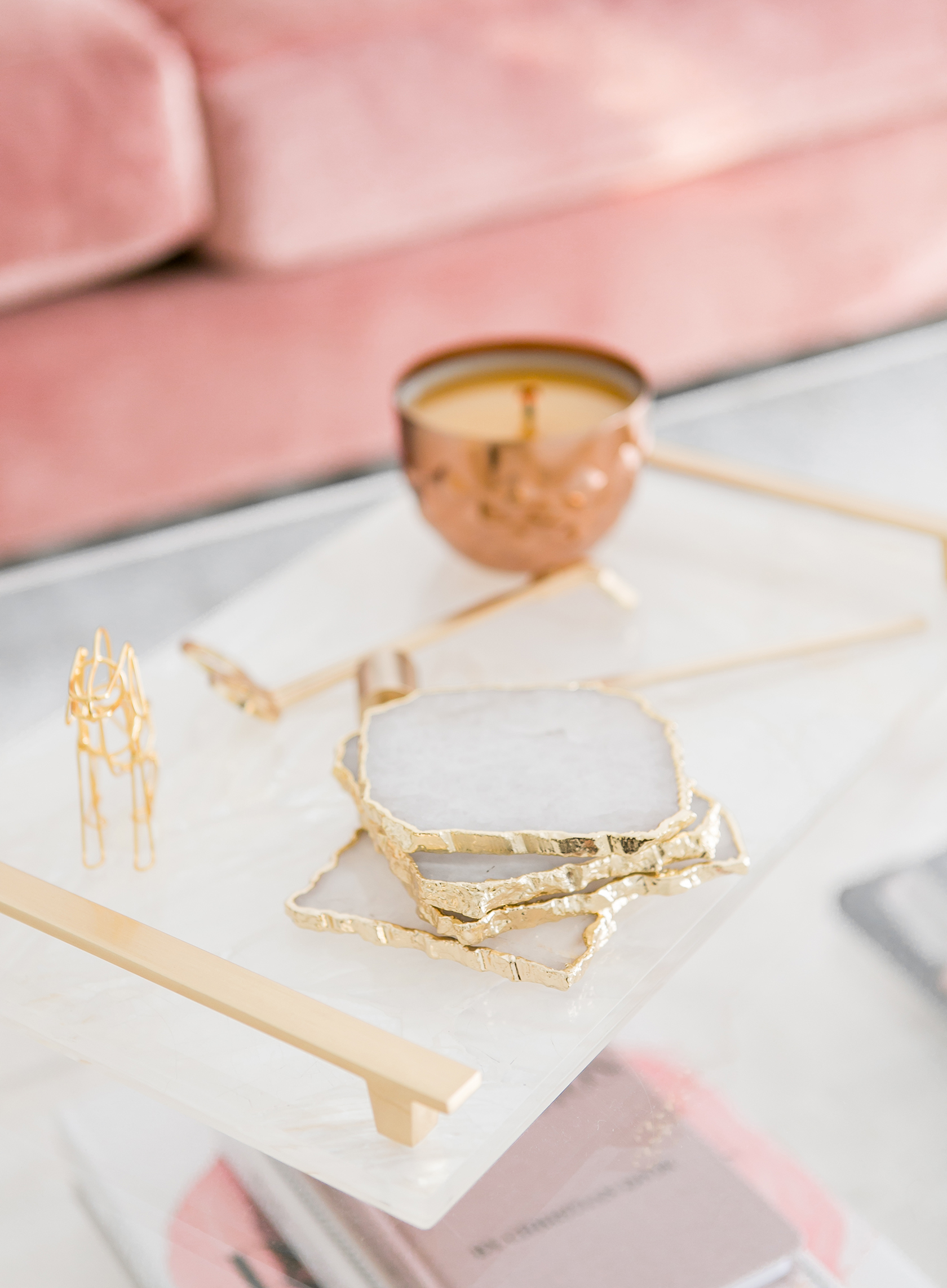 Marble tray with gold candle and gold coasters vignette via Sydne Summer