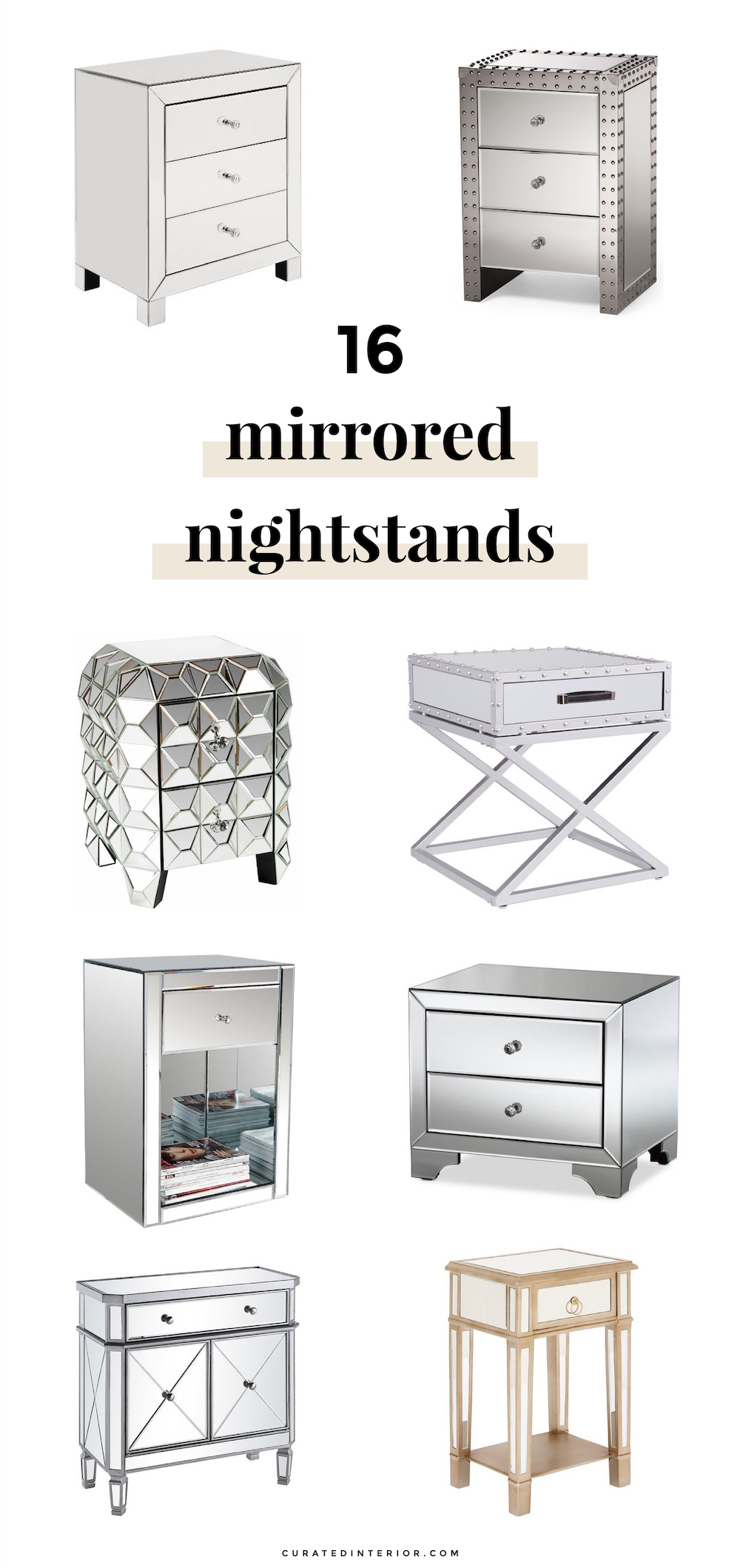 Mirrored Nightstands for a Glamorous Bedroom