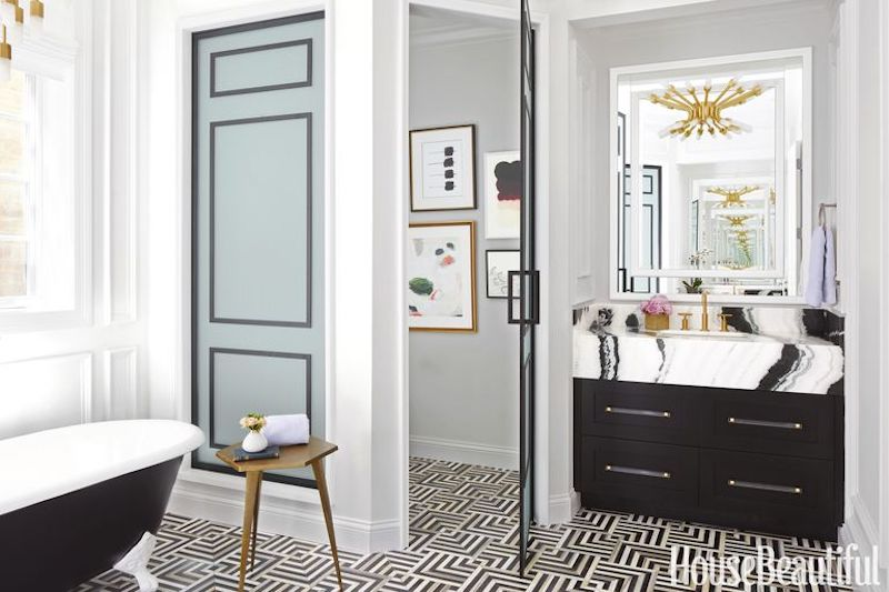 Panda white marble in Suzann Kletzien designed bathroom