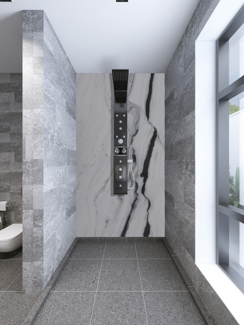 panda white marble wall in shower with grey stone tiles
