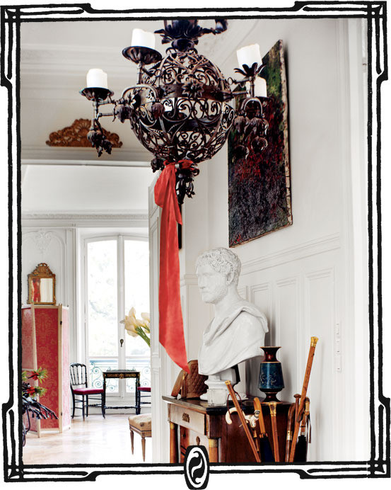 Roman bust in Erin Fetherston's Dreamy Parisian Apartment