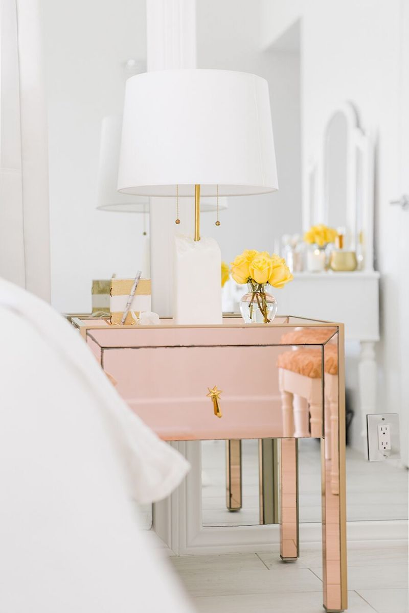 Rose gold metallic nightstand via Sydne Summer