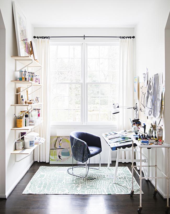Sally King Benedict home art studio desk and window