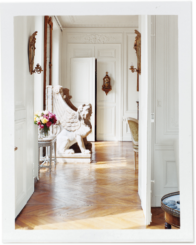 Sculpture in hallway of Erin Fetherston's Dreamy Parisian Apartment