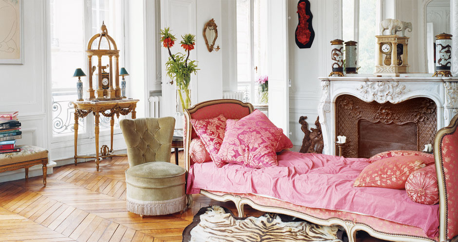 Vintage pink french daybed in Erin Fetherston's Dreamy Parisian Apartment