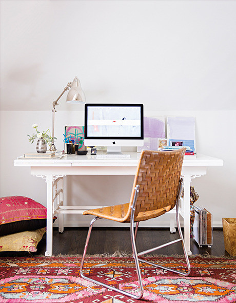 White desk with oriental rug via Sally King Benedict