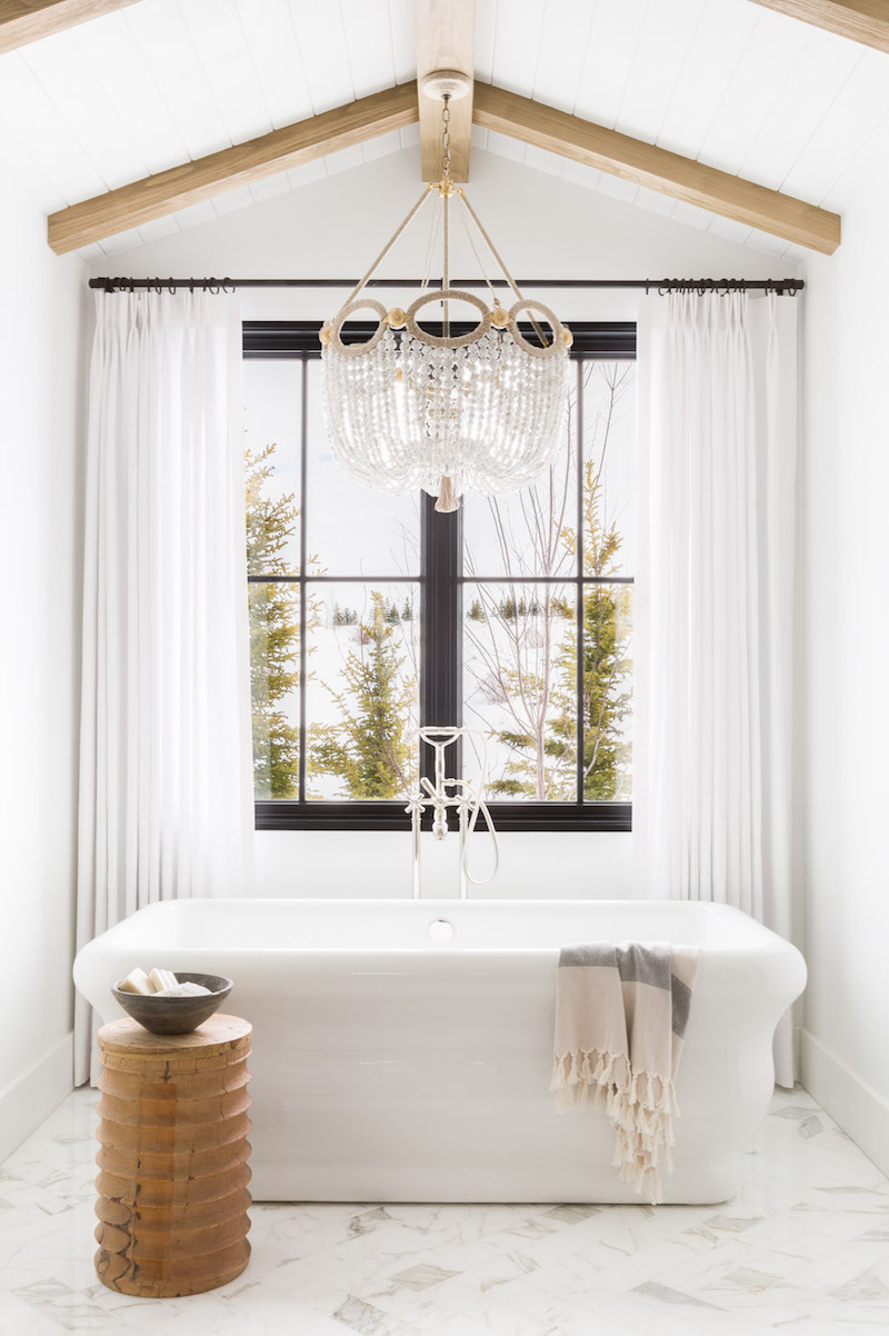 White freestanding bathtub in Nicole Davis bathroom in Montana