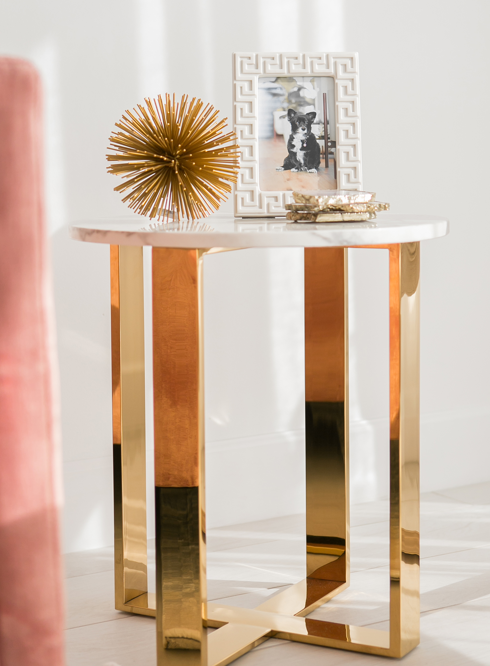 White marble accent table with gold legs via Sydne Summer