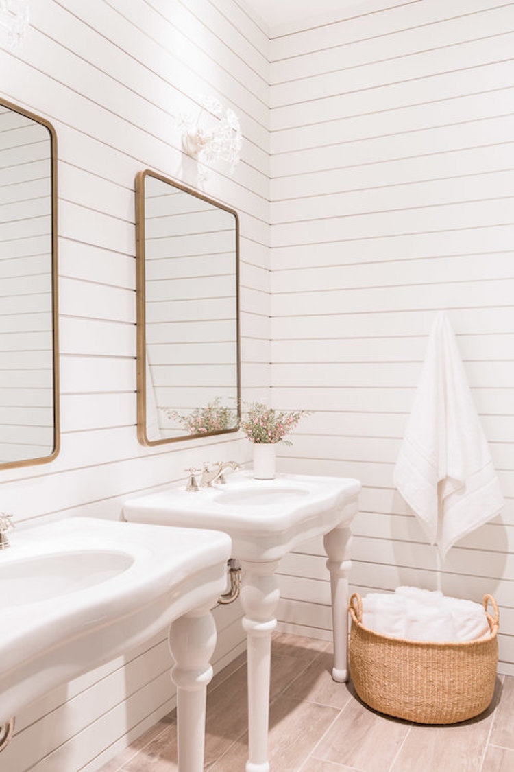 White shiplap walls in country bathroom by Nicole Davis