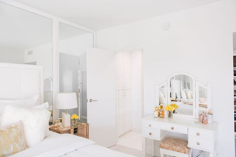 White three-way vanity in bedroom via Sydne Summer