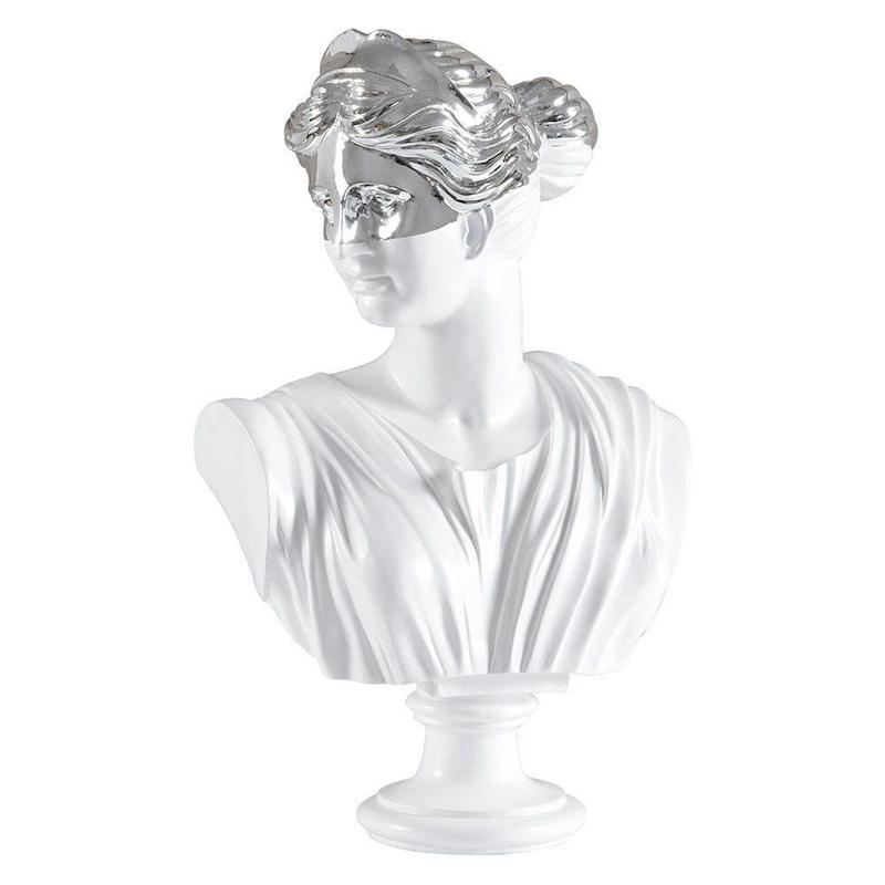 Decorative Bust Silver and White