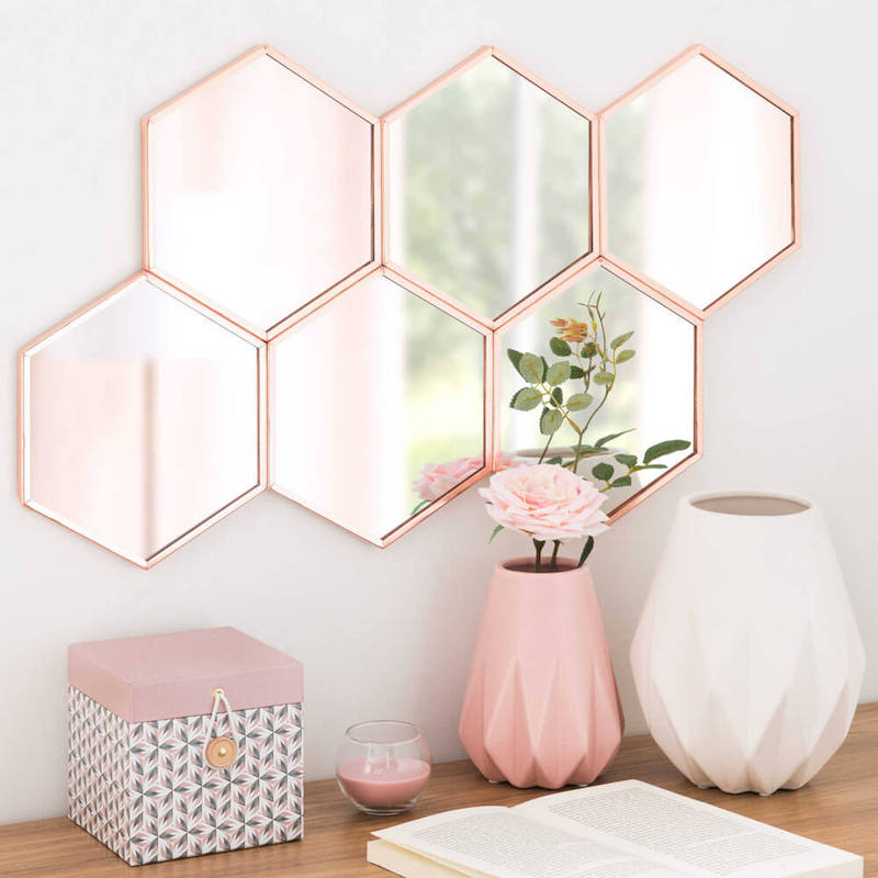 Blush Pink Hexagon Mirror Cluster Copper Frame Hexagon Shaped Wall Mirror Hexagon Wall Mirror Hexagon Wall Mirror Ikea