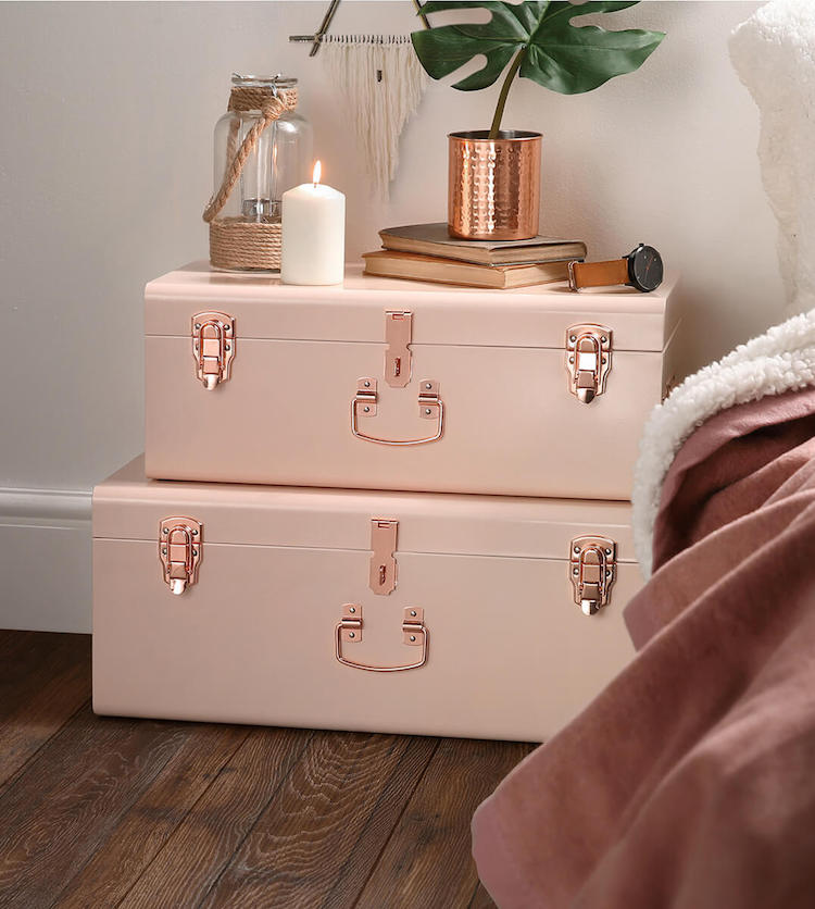 Blush pink vintage storage trunks with copper handles bedside nighstand trunk