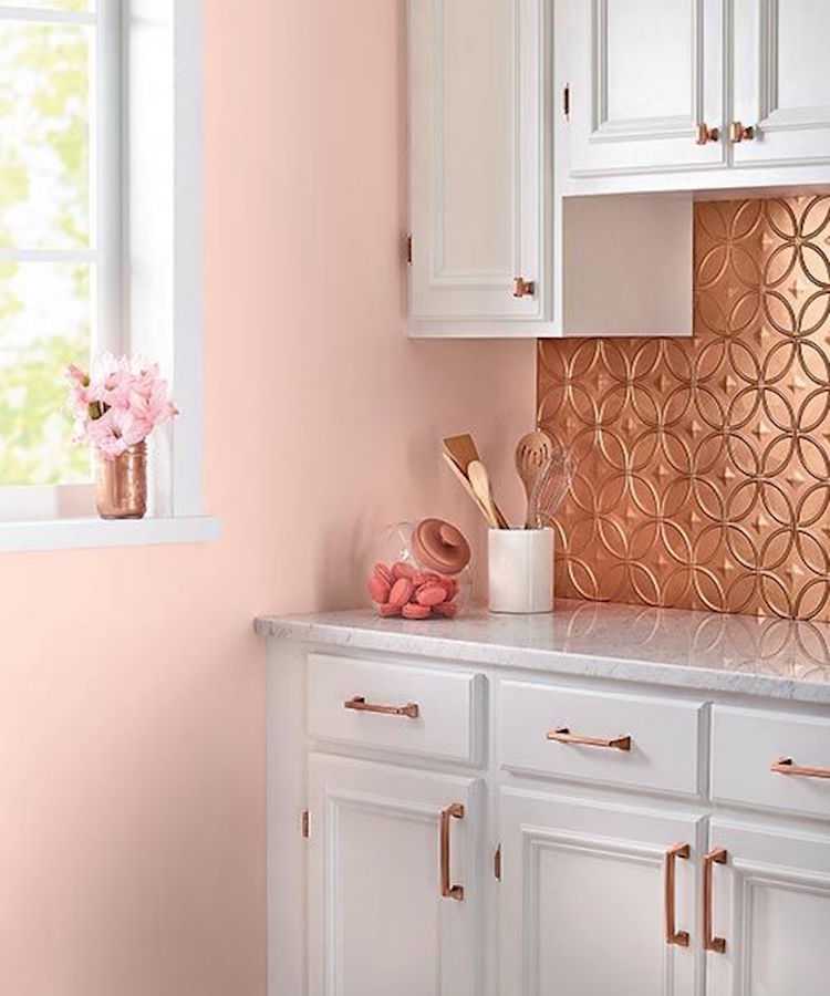 Copper backsplash kitchen with pink walls