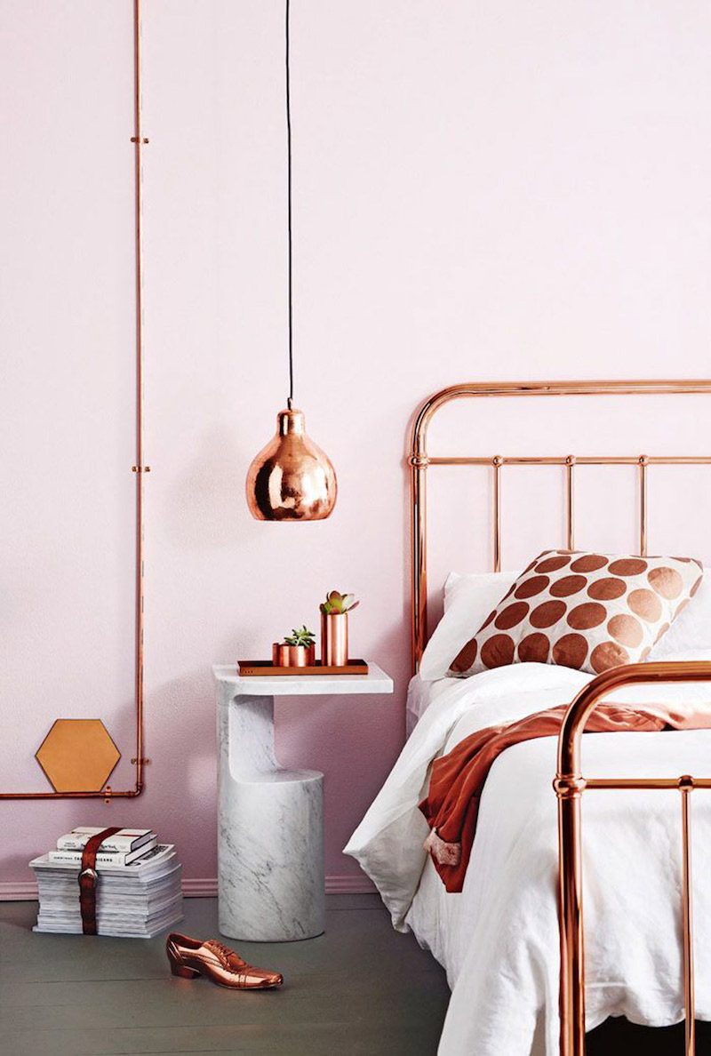 Pink and Copper bedroom accents