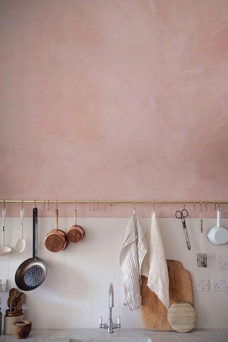 Pink and copper kitchen wall accents via Skye McAlpine