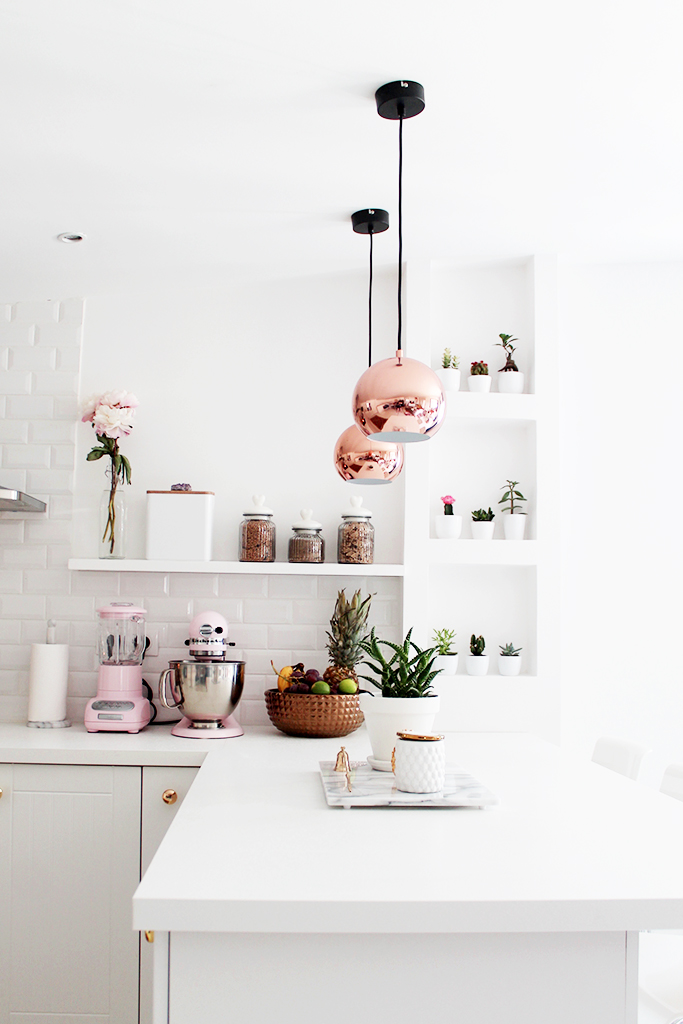 White copper rose gold kitchen pendant light via L'appartement Living
